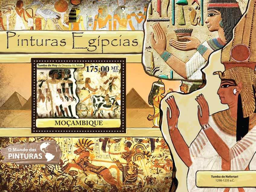 Egyptian Paintings, (Tumba de Huy). - Issue of Mozambique postage Stamps