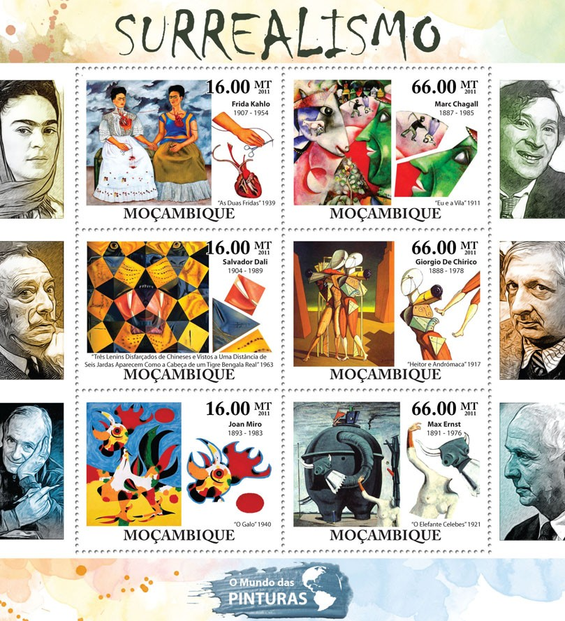 Surrealism, (Frida Kahlo, Max Ernst). - Issue of Mozambique postage Stamps