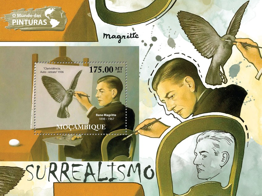Surrealism, (Rene Magritte). - Issue of Mozambique postage Stamps