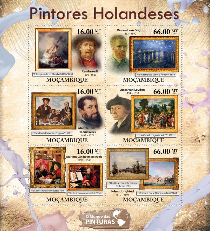 Dutch Paintings, (Rembrandt, Johan Jongkind). - Issue of Mozambique postage Stamps