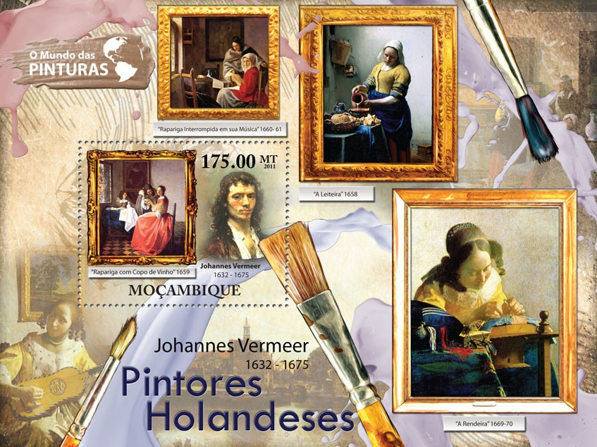Dutch Paintings, (Johannes Vermeer). - Issue of Mozambique postage Stamps