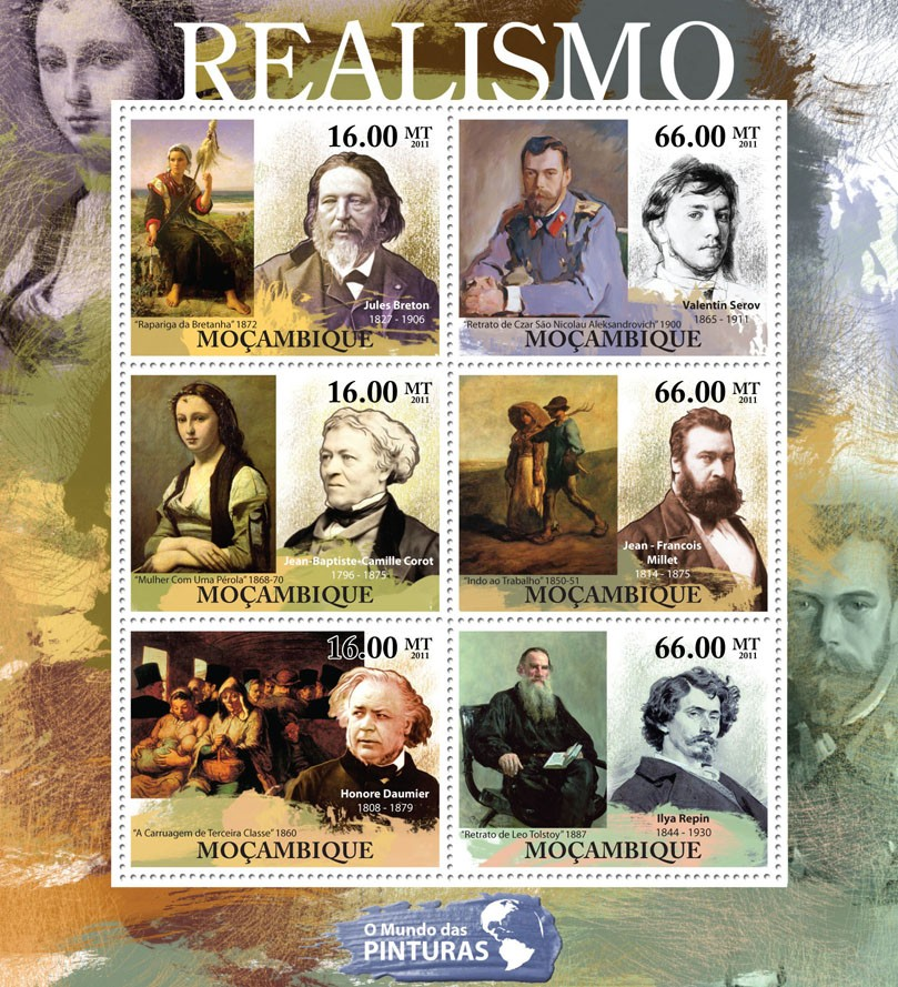 Realism, (Jules Breton, Ilya Repin). - Issue of Mozambique postage Stamps