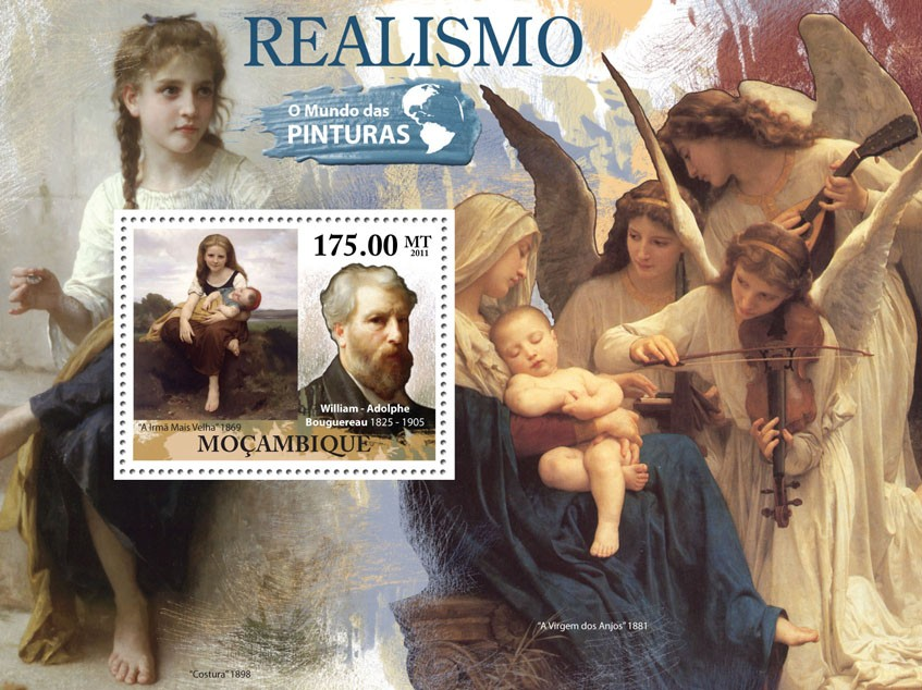 Realism, (William-Adoplhe Bouguereau). - Issue of Mozambique postage Stamps