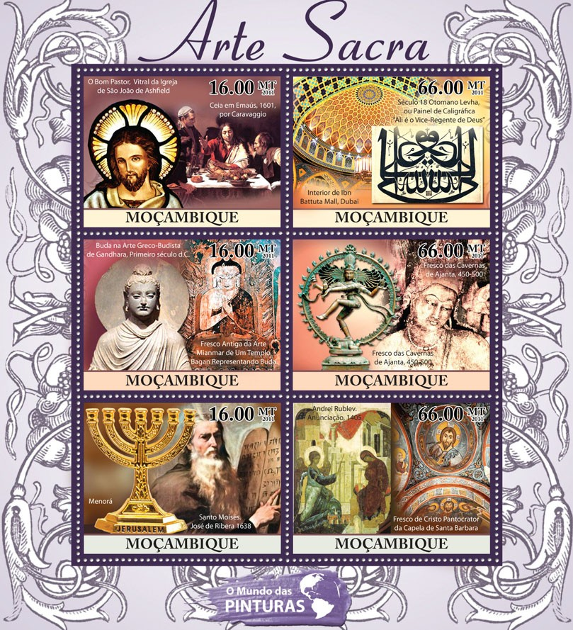 Sacred Art, (Caravaggio, Andrey Rublev). - Issue of Mozambique postage Stamps