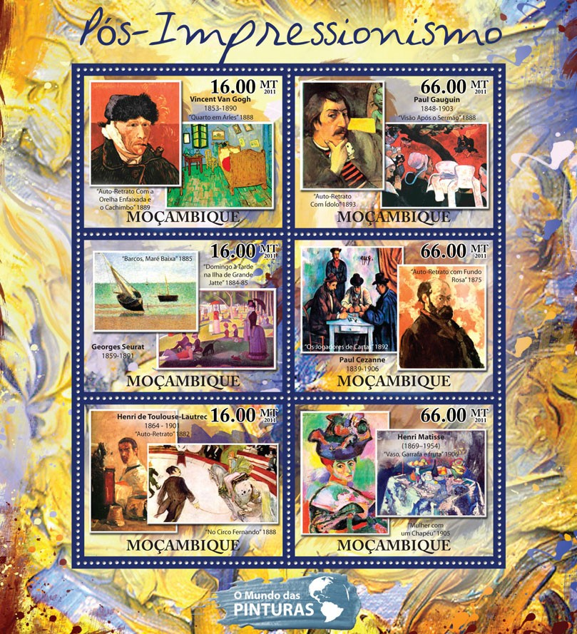 Post-Impressionism, (Vicent Van Gogh, Henri Matisse). - Issue of Mozambique postage Stamps