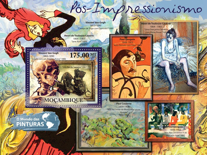 Post-Impressionism, (Vincent van Gogh). - Issue of Mozambique postage Stamps
