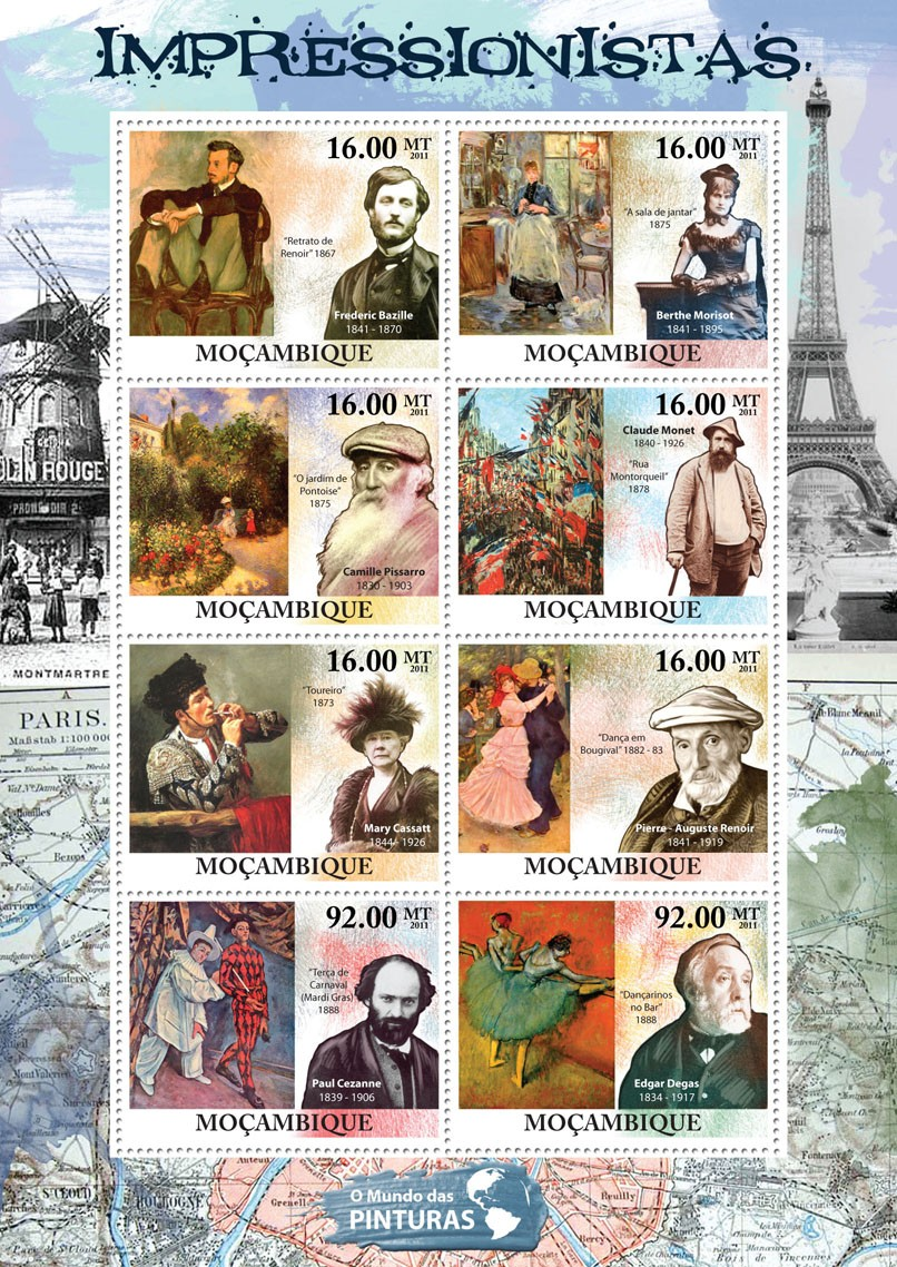 Impressionists, (Federic Bazille, Edgar Degas). - Issue of Mozambique postage Stamps