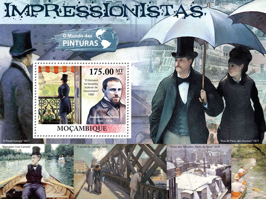 Impressionists, (Gustave Caillebotte). - Issue of Mozambique postage Stamps