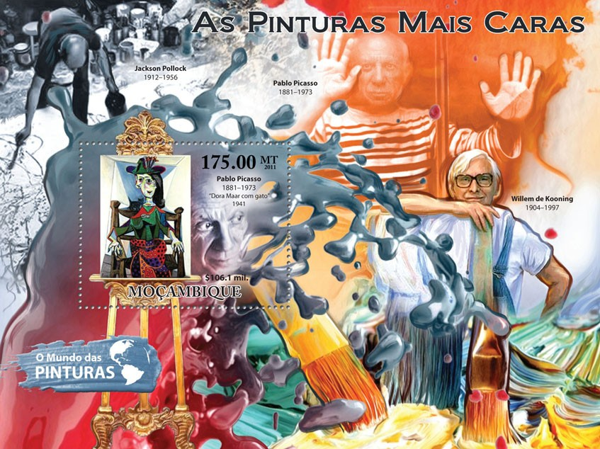 Most Expensive Paintings - Issue of Mozambique postage Stamps