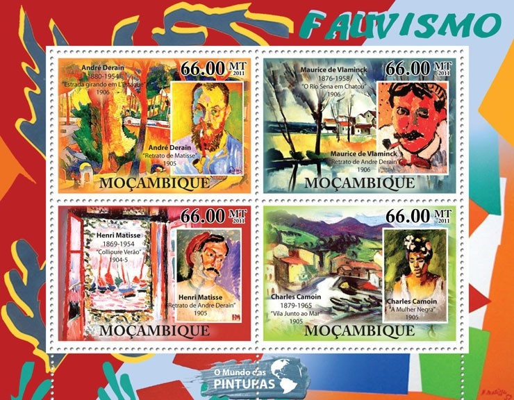 Fauvism, (Andre Derain, Charles Camoin). - Issue of Mozambique postage Stamps