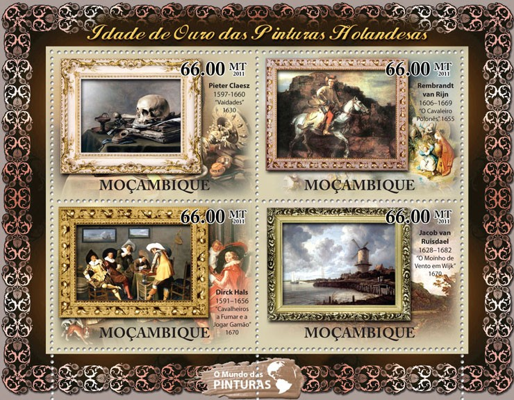 Golden Age of Duch Paintings,  (Pieter Claesz, Jacob van Ruisdael). - Issue of Mozambique postage Stamps