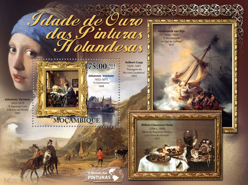 Golden Age of Duch Paintings, (Johannes Vermeer). - Issue of Mozambique postage Stamps