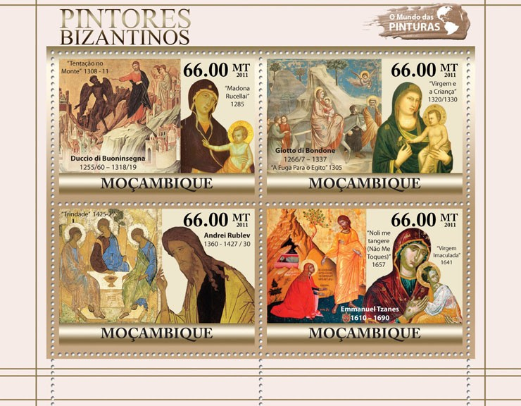 Byzantine Paintings, (Duccio di Buoninsegna, Emmanuel Tzanes). - Issue of Mozambique postage Stamps
