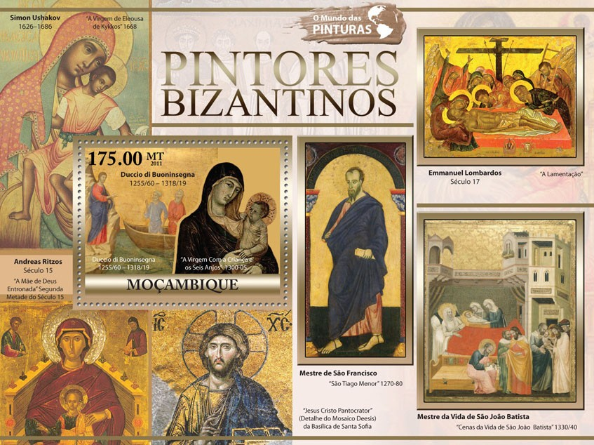 Byzantine Paintings, (Duccio di Buoninsegna). - Issue of Mozambique postage Stamps
