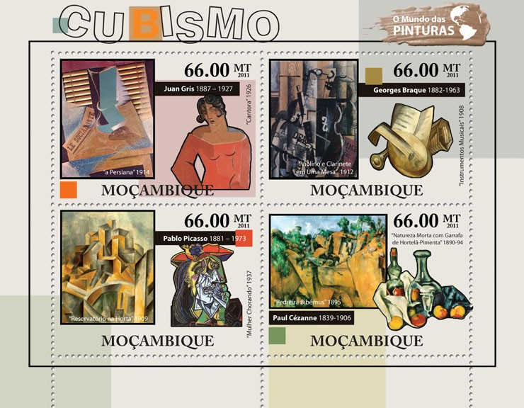 Cubism - Issue of Mozambique postage Stamps