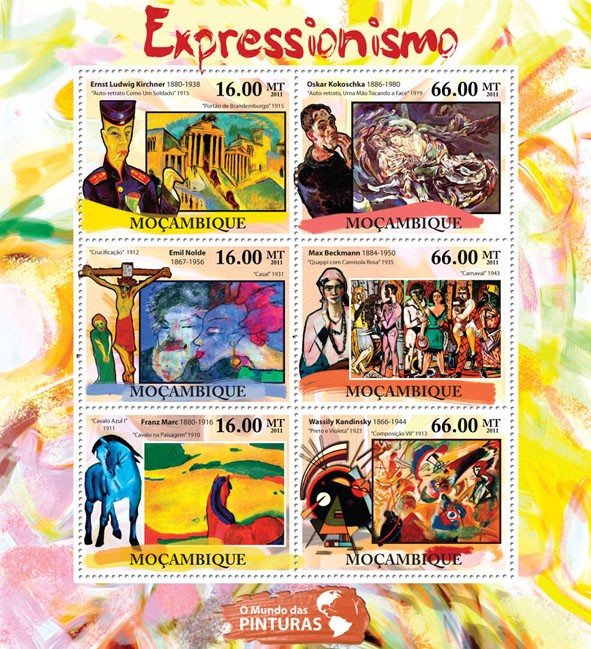 Expressionism, (Ernest Ludwig Kirchner, Wassily Kandinsky). - Issue of Mozambique postage Stamps