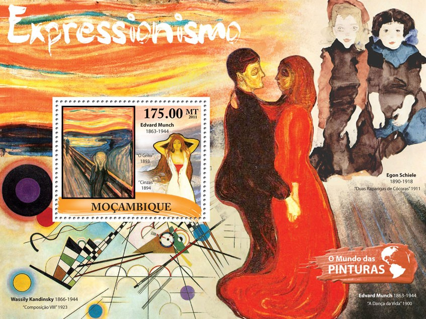 Expressionism, (Edvard Munch). - Issue of Mozambique postage Stamps