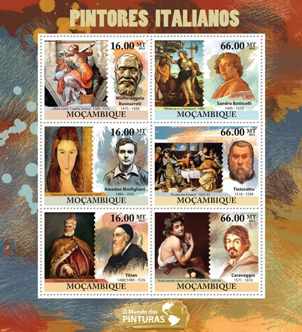 Italian Paintings, (Michelangelo Buonarroti, Caravagio). - Issue of Mozambique postage Stamps