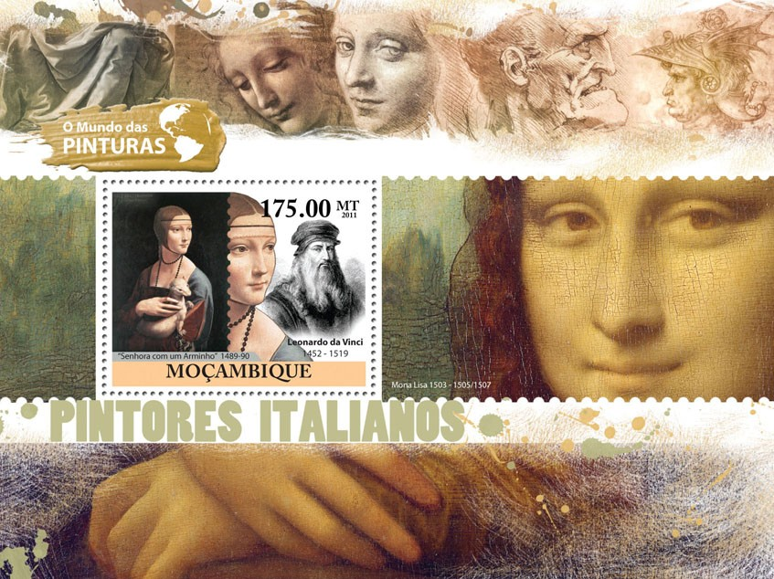 Italian Paintings, (Leonardo da Vinci). - Issue of Mozambique postage Stamps