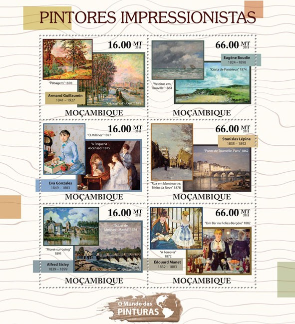 Impressionism Paintings, (Armand Guillaumin, Edouard Manet). - Issue of Mozambique postage Stamps