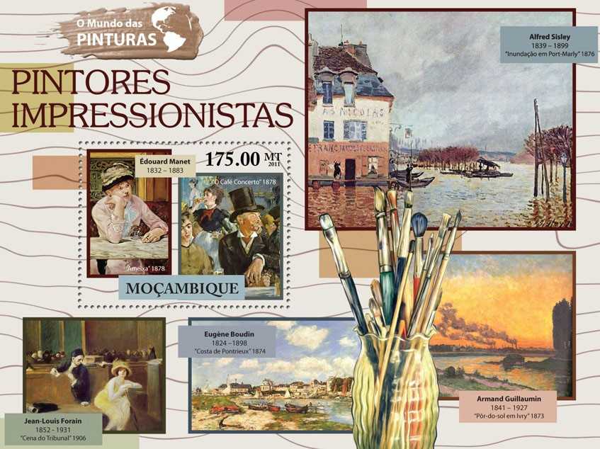 Impressionism Paintings, (Edouard Manet). - Issue of Mozambique postage Stamps