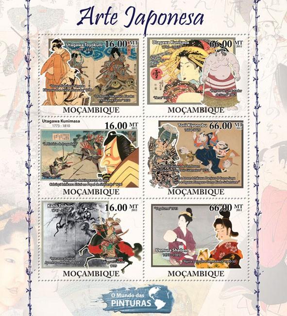 Japanese Art, (Utagawa Toyokuni, Uemura Shaoen). - Issue of Mozambique postage Stamps