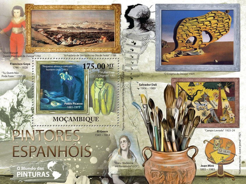 Spanish Paintings - Issue of Mozambique postage Stamps