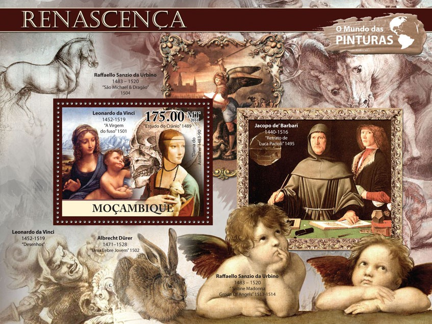Renaissance, (Leonardo da Vinci). - Issue of Mozambique postage Stamps