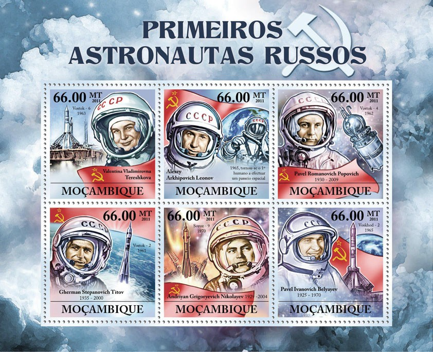 First Russian Astronauts, (V.V.Teresshkova, P.I.Belyayev) - Issue of Mozambique postage Stamps