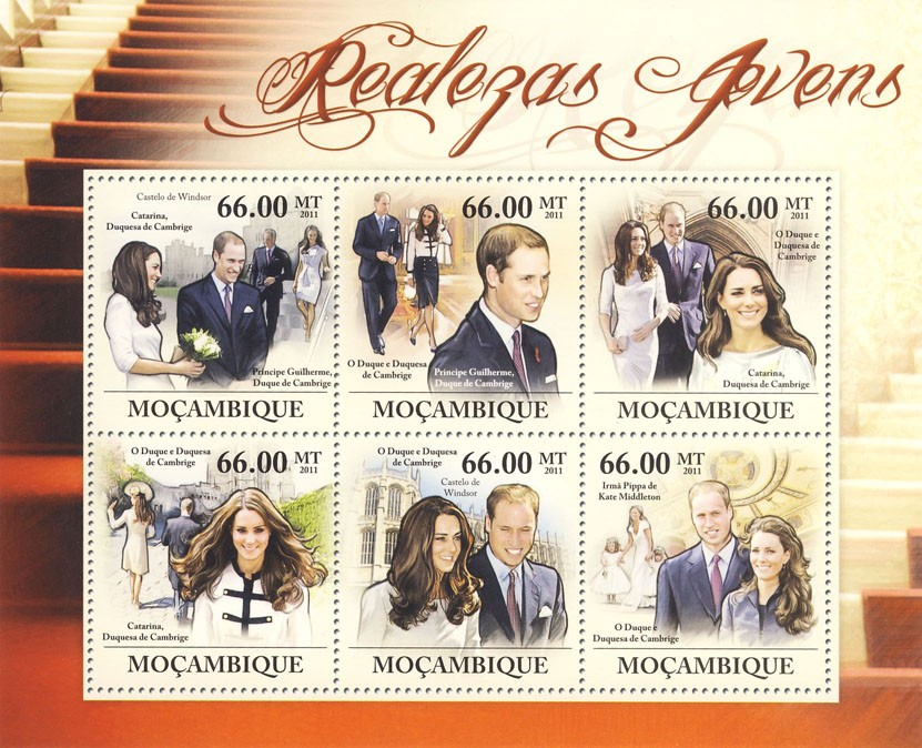Young Royals, Prince William & Katherine Middleton. - Issue of Mozambique postage Stamps