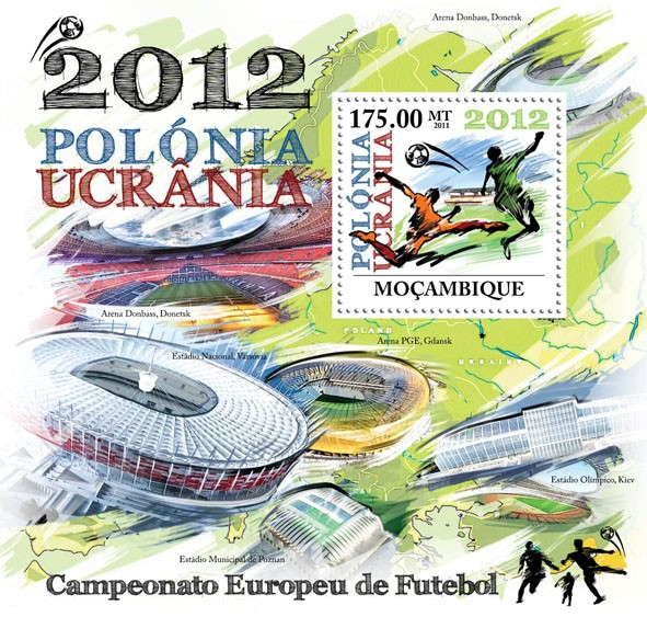 European Football Championship 2012,  Poland & Ukraine. - Issue of Mozambique postage Stamps