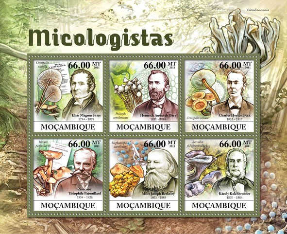 Mycologists & Mushrooms,  (Elias Magnus Fries, Karoly Kalchbrenner). - Issue of Mozambique postage Stamps