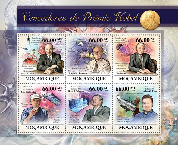 Nobel Prize Winners, (Bruce A.Beutler, Adam G.Riess). - Issue of Mozambique postage Stamps