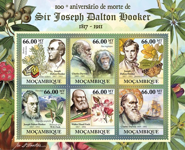 100th Anniversary of Death of Sir Joseph Dalton Hooker, 1817-1911, (J.D.Hooker, Charles Darwin). - Issue of Mozambique postage Stamps