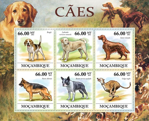 Dogs, (Beagle, Galgo Ingles). - Issue of Mozambique postage Stamps