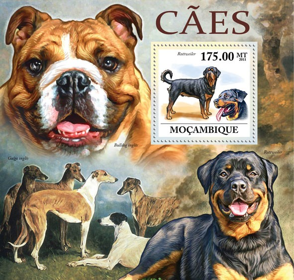 Dogs, (Rottweiler). - Issue of Mozambique postage Stamps