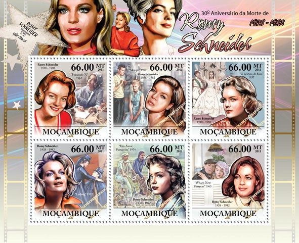 30th Anniversary of Death of Romy Schneider 1938-1982, (Boccacio 70 - 1962, What New Pussycat - 1965). - Issue of Mozambique postage Stamps