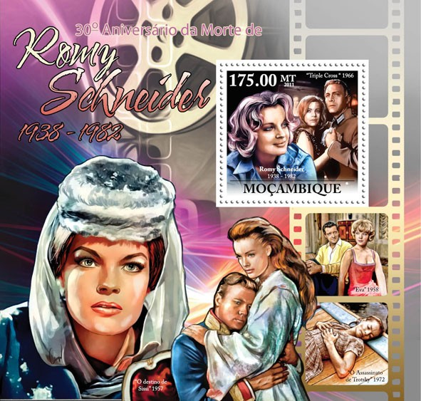 30th Anniversary of Death of Romy Schneider 1938-1982, (Triple Cross 1966). - Issue of Mozambique postage Stamps