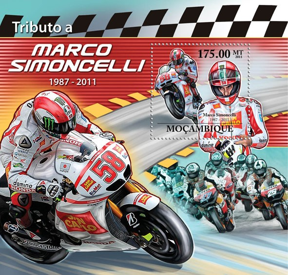 Tribute to Marco Simoncelli 1987-2011, (Motorcycles Sport). - Issue of Mozambique postage Stamps