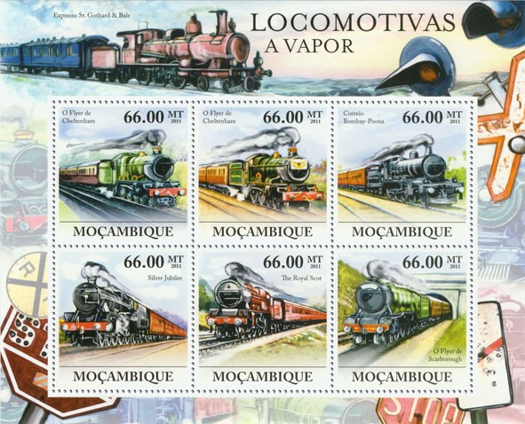 Steam Locomotives, (Cheltenham, Scarborough). - Issue of Mozambique postage Stamps