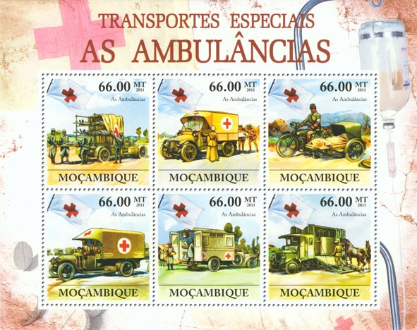 Special Transport - Ambulances, Red Cross. - Issue of Mozambique postage Stamps