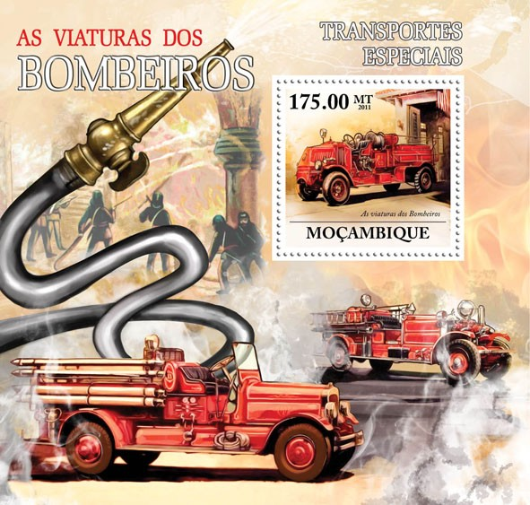 Special Transport - Fire Brigade. - Issue of Mozambique postage Stamps