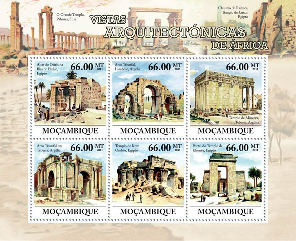 Architectual Wiews of Africa, (Egypt & Algeria). - Issue of Mozambique postage Stamps