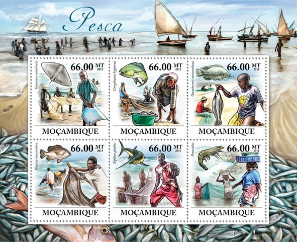 Fishes & Fishing. - Issue of Mozambique postage Stamps