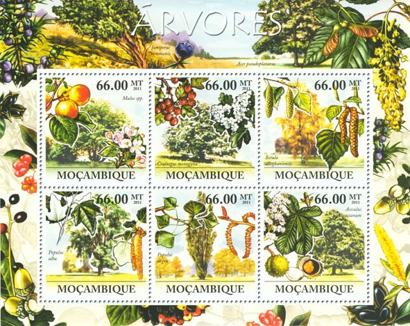 Trees, (Malus spp., Aesculus hippocastanum). - Issue of Mozambique postage Stamps