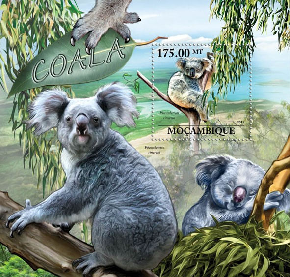 Koalas, (Phascolarctos cinereus). - Issue of Mozambique postage Stamps
