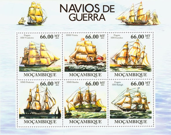 Warships, (Fragata HM Vindictive, Fragata  HM Raleigh). - Issue of Mozambique postage Stamps