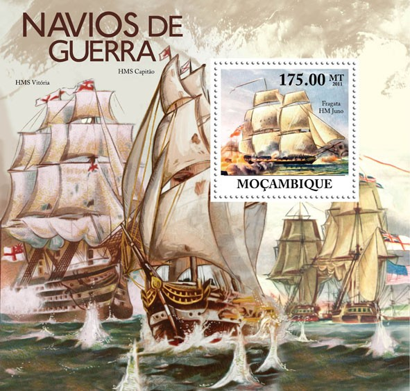Warships, (Fragata HM Juno). - Issue of Mozambique postage Stamps