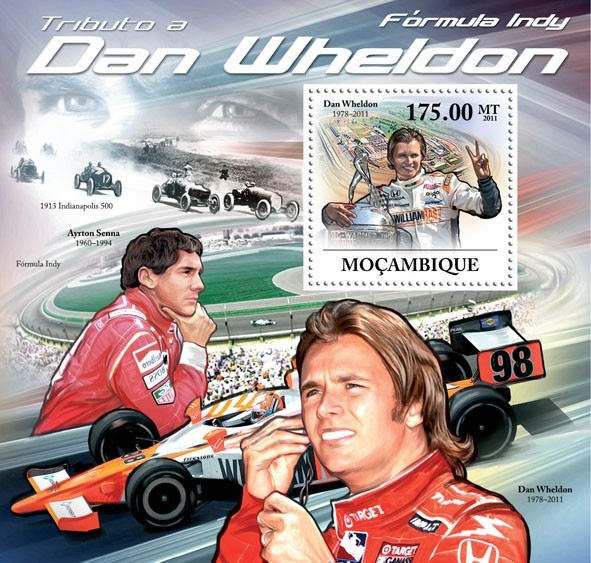 Tribute to Dan Wheldon, (1978-2011), Formula Indy. - Issue of Mozambique postage Stamps