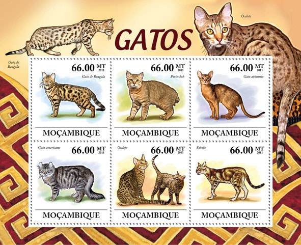 Cats, (Gato de Bengala, Sikoke). - Issue of Mozambique postage Stamps